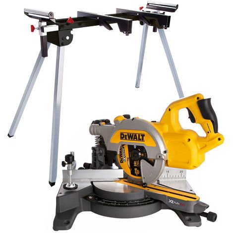 Dewalt DCS777N 54V XR 216mm Brushless Flexvolt Mitre Saw Body With Leg Stand