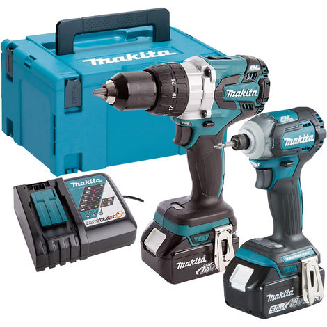Makita DLX2214TJ 18V Combi Drill & Impact Driver Kit With 2x5.0Ah Batteries Charger & Case:18V