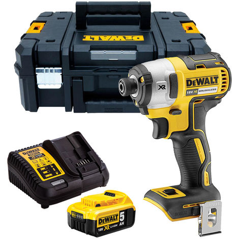 Dewalt DCF887N 18V Brushless Impact Driver with 1 x 5.0Ah Battery & Charger in TSTAK