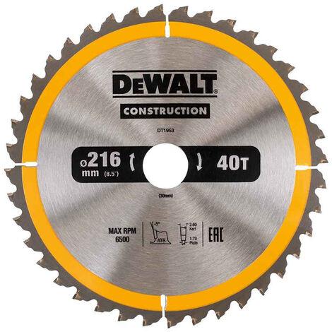 DeWalt DT1952QZ Construction Circular Saw Blade 216mm x 30mm 24T
