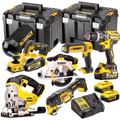 Dewalt DCK665P3T 18V 6 Piece Kit 3 x 5.0Ah Batteries with Charger & 2 x Tstak Kitboxes