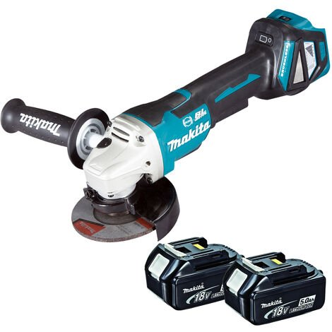 Makita DGA463 18V Brushless 115mm Angle Grinder with 2 x 5.0Ah Batteries