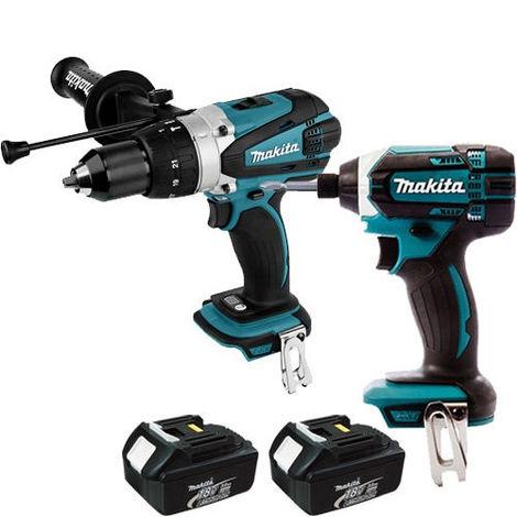 Makita 18v Twin Pack Combi Drill & Impact Driver + 2 x 3.0Ah Batteries
