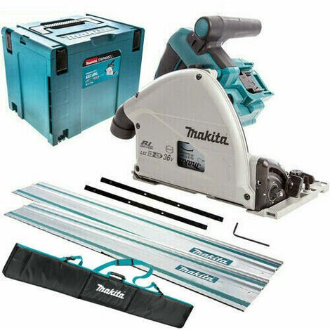 Makita DSP600ZJ 36V Brushless 165mm Plunge Saw with 2 x 1.5m Guide Rail & Case + Rail Bag
