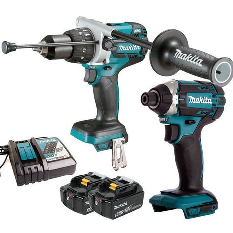 Makita 18v Combi Drill & Impact Driver + 2 x 5.0Ah Batteries + Charger