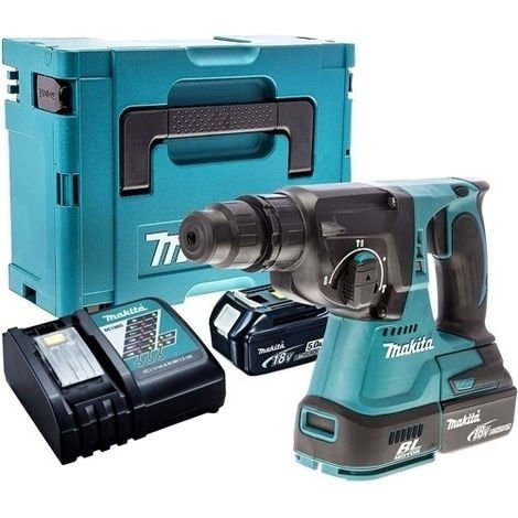 Makita DHR242Z 18V SDS+ Brushless Hammer Drill with 2 x 5.0Ah Batteries & Charger in Case:18V