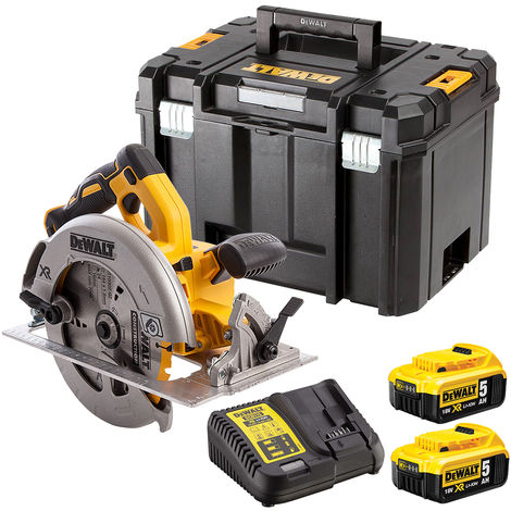 Dewalt DCS570P2 18V Brushless 184mm Circular Saw with 2 x 5.0Ah Batteries & Charger in Case:18V