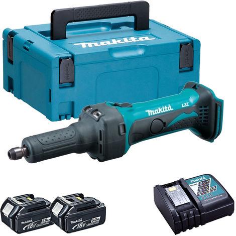 Makita DGD800Z 18V LXT Die Grinder with 2 x 5.0Ah Batteries & Charger in Case:18V