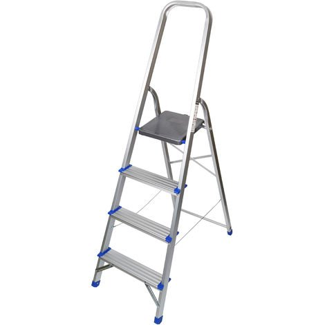 Excel Household 4 Step Foldable Aluminium Ladder Safety Non-Slip Lightweight 0.84m