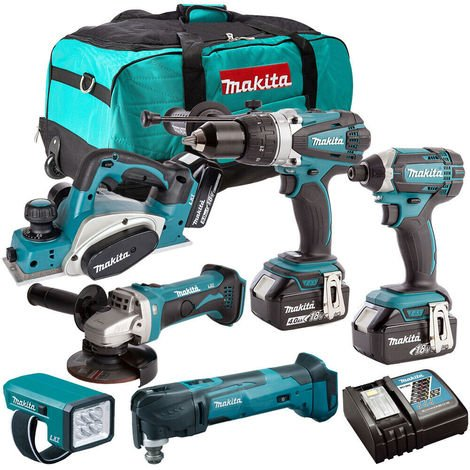 Makita 18V 6 Piece Power Tool Kit with 3 x 5.0Ah Batteries & Charger T4TKIT-188:18V