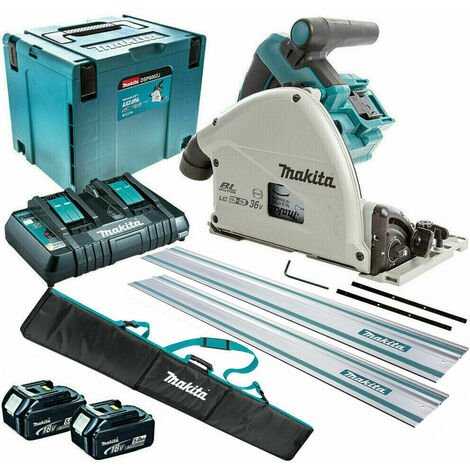 Makita DSP600ZJ 36V Brushless 165mm Plunge Saw with 2 x 5.0Ah Battery & Twin Port Charger + Accessories