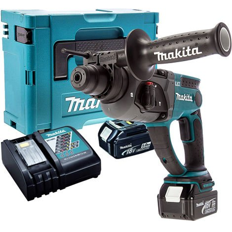 Makita DHR202Z 18V SDS+ Rotary Hammer Drill with 2 x 5.0Ah Batteries & Charger in Case:18V