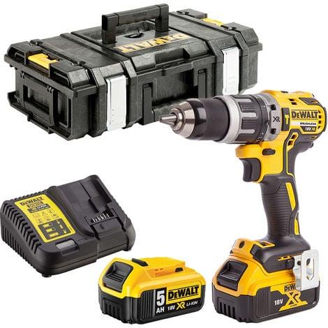 Dewalt DCD796N 18V Brushless Combi Drill 2 x 5.0Ah Batteries Charger & Tool Box:18V