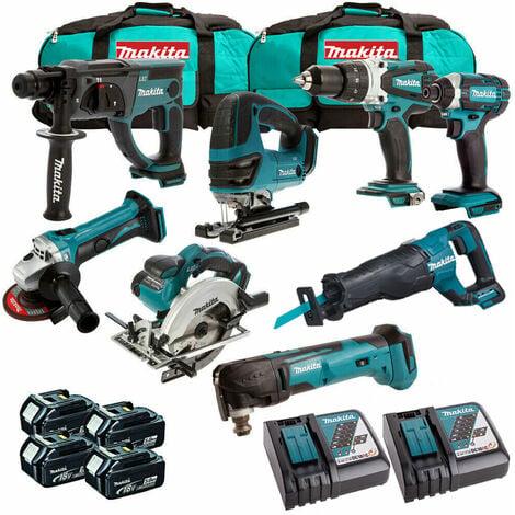 Makita MAK8PC 18V LXT Li-ion 8 Piece Power Tool Kit 4 x 5.0Ah Batteries:18V