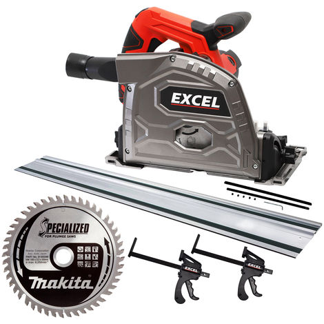 Excel Plunge Saw 165mm 240V with 1 x Guide Rail & Connector Clamp + Extra Makita Blade 48T