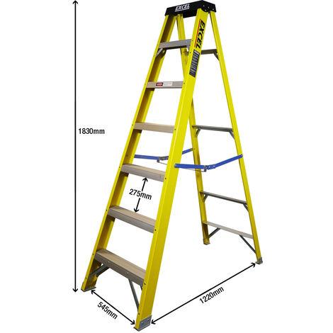 Excel Electricians Fibreglass Step Ladder 7 Tread 1.83m Heavy Duty