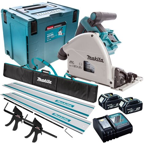 Makita DSP600TJ 36V Brushless Plunge Saw Set 2 x 5.0Ah Batteries & Accessories