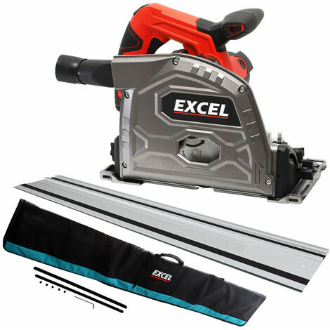 Excel 165mm Plunge Saw 240V with 1 x Guide Rail & Connector + Rail Bag