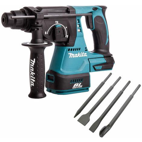 Makita DHR242Z 18V SDS+ Brushless 24mm Rotary Hammer Drill & 4 Piece Chisel Set
