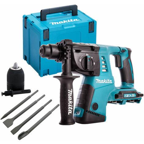 Makita DHR263ZJ 36V SDS+ Hammer Drill with 4 Piece Chisel Set + Keyless Chuck