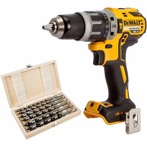 DeWalt DCD796N 18V Brushless Combi Hammer Drill + 6 Piece Auger Bit Set