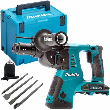 Makita DHR264ZJ 36V SDS+ Hammer Drill with 4 Piece Chisel Set + Keyless Chuck