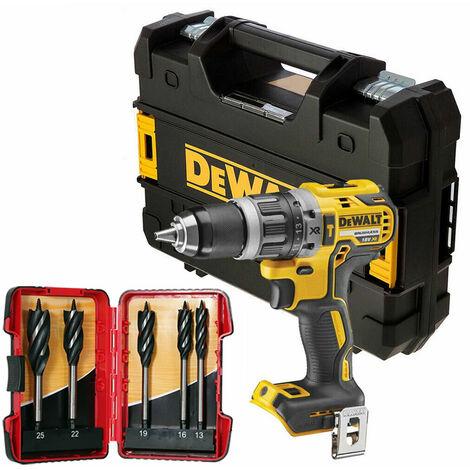DeWalt DCD796N 18V Brushless Combi Drill in Tstak & 5 Piece Auger Drill Bit Set