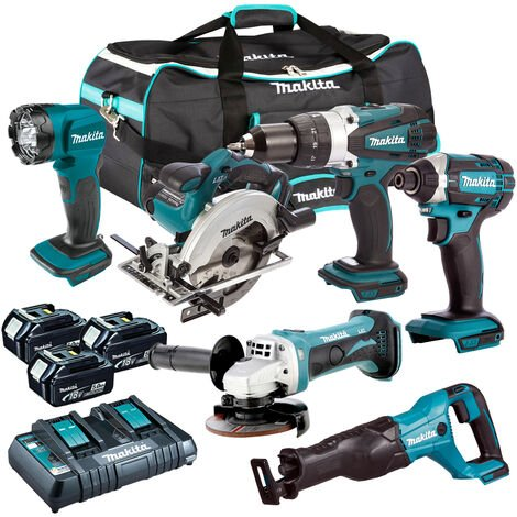 Makita DLX6072PT 18V LXT 6 Piece Kit 3 x 5.0Ah Batteries with Twin Port Charger:18V