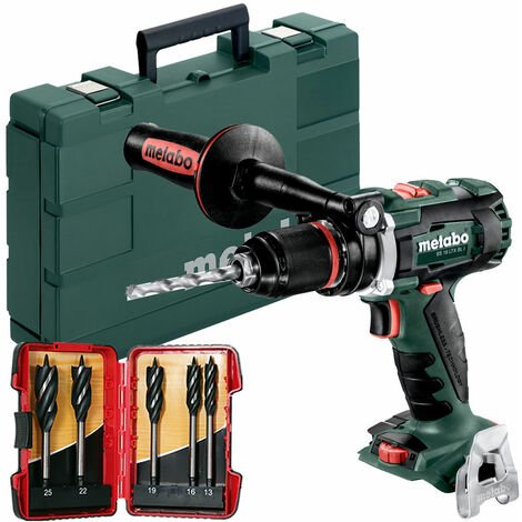 Metabo BS18LTXBLI 18V Brushless Drill Driver In Case & 5 Piece Auger Drill Bit Set