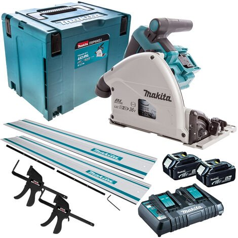 Makita DSP600TJ 36V Brushless Plunge Saw 2 x 5.0Ah Batteries & Accessories Set
