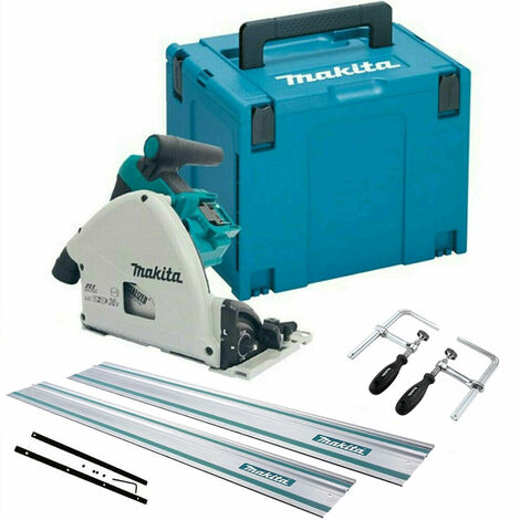 Makita DSP600ZJ 36V Brushless Plunge Saw + 2 x Guide Rail, Connector & Clamp Set