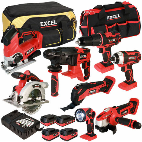 Excel 18V Cordless 8 Piece Tool Kit with 4 Batteries & Smart Charger in Bag EXL5047:18V