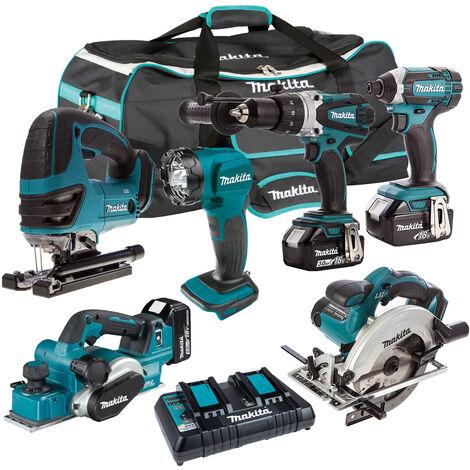 Makita 6 Piece Tool Kit 18V LXT 3 x 5.0Ah Batteries & Twin Port Charger T4TKIT-7501:18V