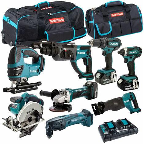 Makita 8 Piece Tool Kit 18V LXT 3 x 5.0Ah Batteries & Twin Port Charger T4TKIT-4344:18V
