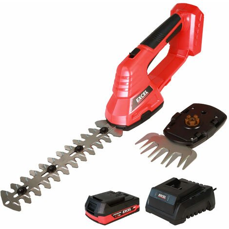 Excel 18V Hedge Trimmer & Grass Shear with 1 x 2.0Ah Battery + Fast Charger EXL5203:18V