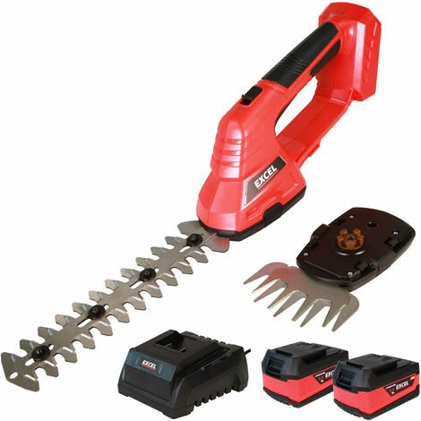 Excel 18V Hedge Trimmer & Grass Shear with 2 x 5.0Ah Batteries + Fast Charger EXL5235:18V