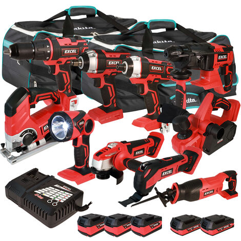 Excel 18V Cordless 10 Piece Tool Kit with 5 x Batteries & Smart Charger in Bag EXL5212 :18V