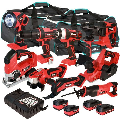 Excel 18V Cordless 9 Piece Tool Kit with 4 x Batteries & Charger in Bag EXL5216 :18V