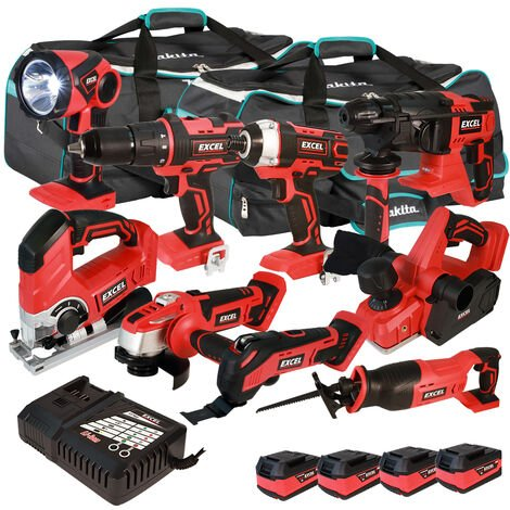 Excel 18V Cordless 9 Piece Tool Kit with 4 x 5.0Ah Batteries & Smart Charger in Bag EXL5217 :18V
