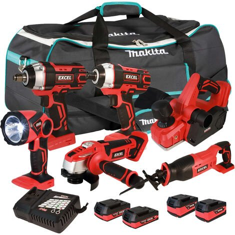 Excel 18V Cordless 6 Piece Tool Kit with 4 x Batteries & Charger in Bag EXL5235 :18V