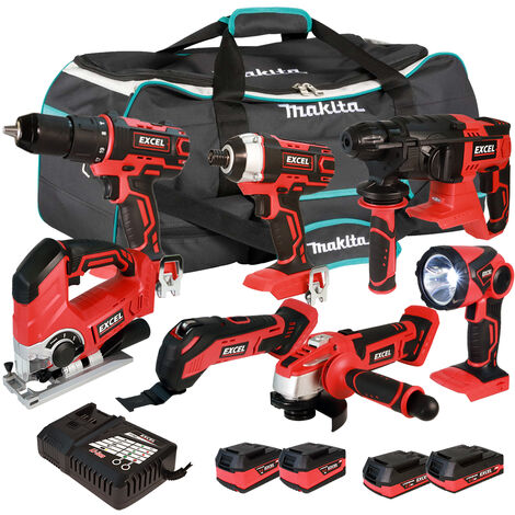 Excel 18V Cordless 7 Piece Tool Kit with 4 x Batteries & Smart Charger in Bag EXL5224 :18V