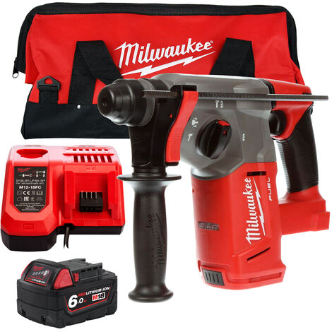 Milwaukee M18CHX-0 18V SDS Plus Hammer Drill with 1 x 6.0Ah Battery Charger & Large Bag:18V
