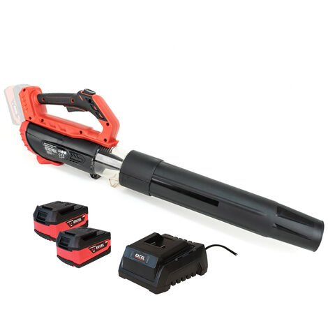 Excel 18V Cordless Garden Leaf Blower 2 Level Speed with 2 x 5.0Ah Battery & Charger:18V