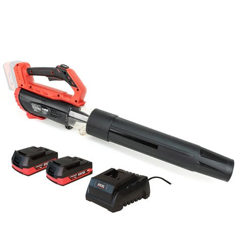 Excel 18V Cordless Garden Leaf Blower 2 Level Speed with 2 x 2.0Ah Battery & Charger:18V
