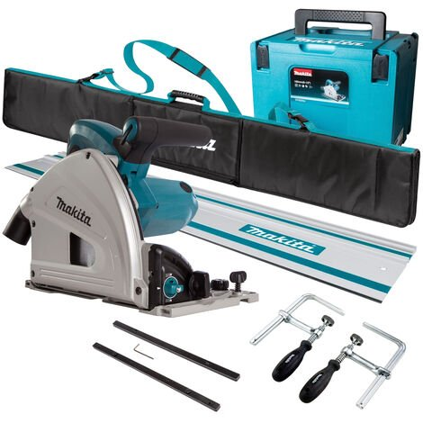Makita SP6000J1 240V 165mm Plunge Saw with 1 x Rails, Connector Bar, Clamp & Bag