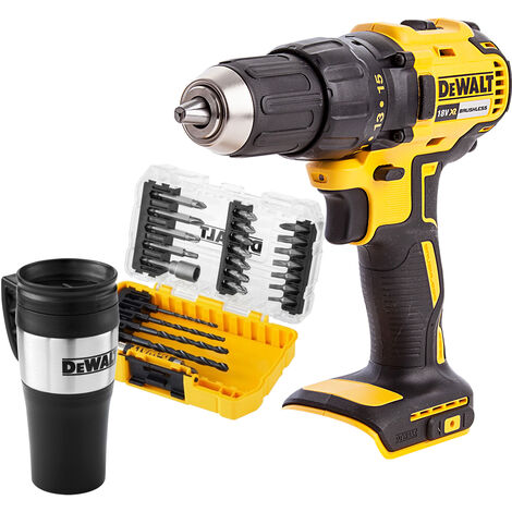Dewalt DCD777N 18V Brushless Combi Drill Driver with 25 Piece Bit Set & Mug