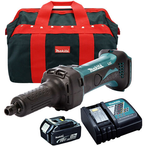 Makita DGD800Z 18V Cordless Die Grinder with 1 x 5.0Ah Battery Charger & Bag
