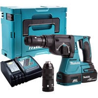 Makita DHR243Z 18V SDS+ Brushless Hammer Drill with 1 x 5.0Ah Battery & Charger in Case:18V