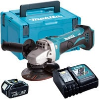 Makita DGA452Z 18V 115mm Angle Grinder with 1 x 5.0Ah Battery & Charger in Case:18V