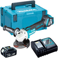 Makita DGA513Z 18V Brushless 125mm Angle Grinder with 1 x 5.0Ah Battery & Charger in Case:18V